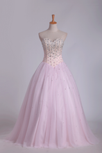 Load image into Gallery viewer, 2019 Ball Gown Tulle Sweetheart Beaded Bodice Floor Length Quinceanera Dresses