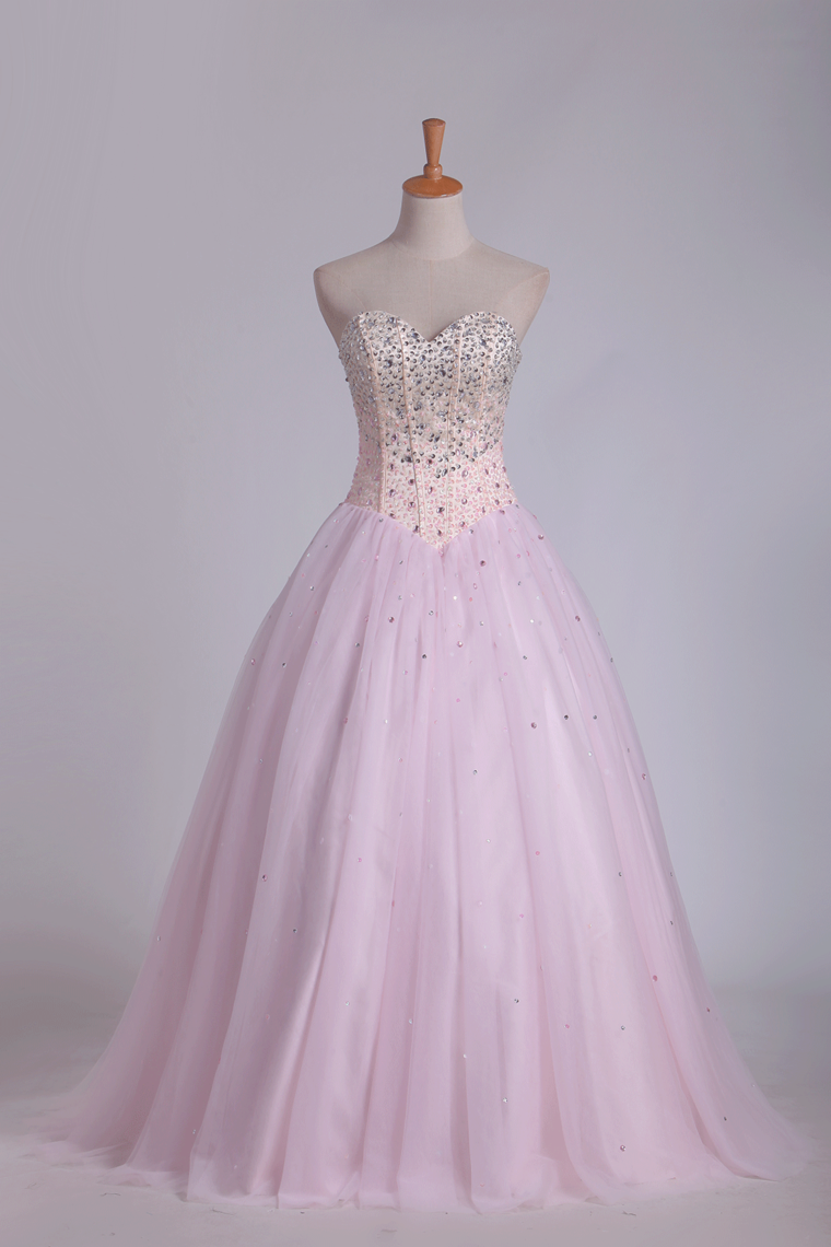 2019 Ball Gown Tulle Sweetheart Beaded Bodice Floor Length Quinceanera Dresses