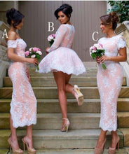Load image into Gallery viewer, Mismatched Different Styles Pink Lace Appliques Bridesmaid Dresses Homecoming Dresses RS831