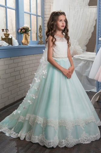 2019 A Line Tulle With Applique Flower Girl Dresses Scoop Sweep Train
