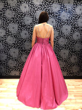 Load image into Gallery viewer, Sugar Pink V-Neck Spaghetti Straps Open Back Sleeveless Prom Dress Satin Prom Dresses RS794