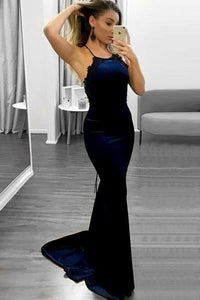 Spaghetti Straps Long Sheath Charming Simple Prom Dresses With Black Appliques