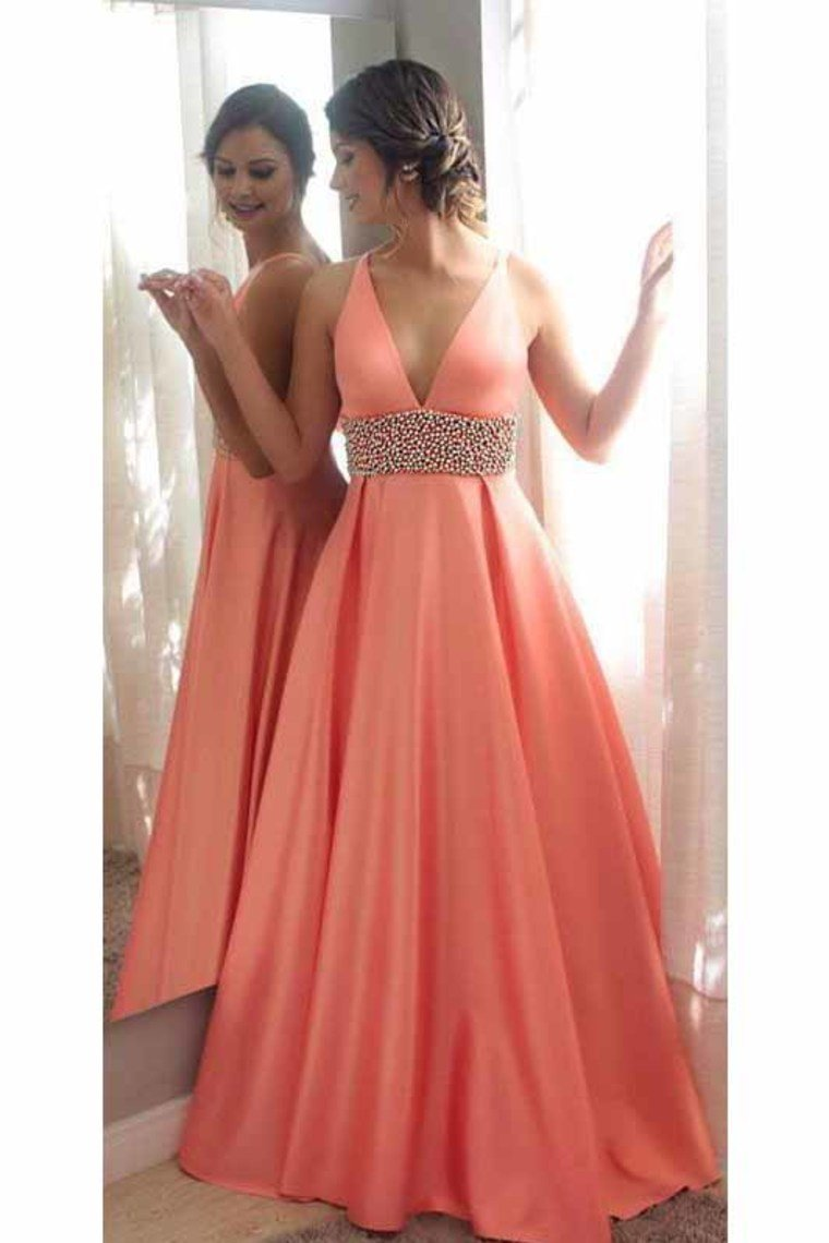 2019 New Arrival V Neck Beaded Waistband A Line Satin Prom Dresses
