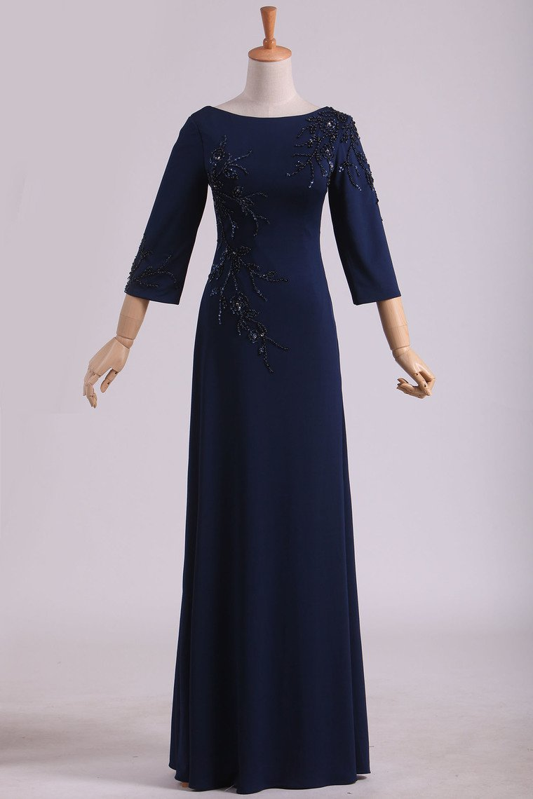 2019 3/4 Length Sleeve Mother Of The Bride Dresses Bateau Spandex With Beads