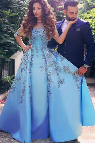 2019  Prom Dresses Sheath Scoop Mid-Length Sleeves Satin With Applique Floor Length