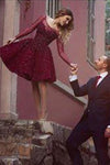 Wine Red Prom Dresses Beading Prom Gowns Cute Party Dress Short Prom Dress RS619