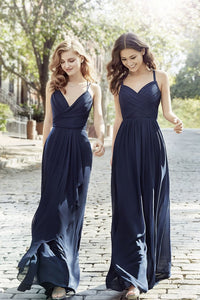 2019 A Line Bridesmaid Dresses Spanghetti Straps Chiffon Floor Length