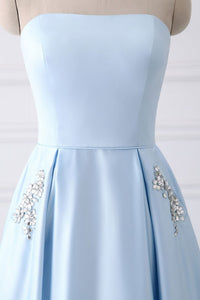 Charming Strapless Light Blue Lace Up Open Back Long Prom Dresses With Pockets
