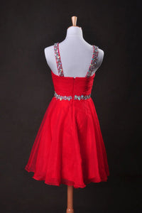 Red  A Line V Neck  Short/Mini Organza Cz