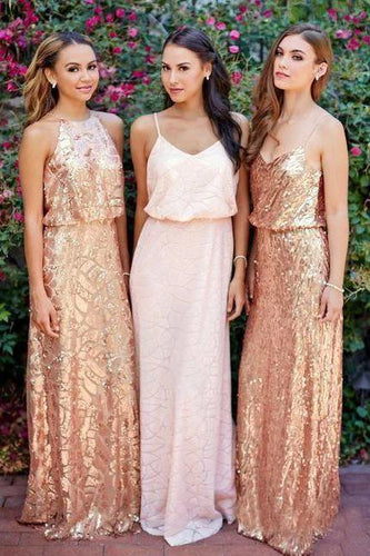 Cheap Pink Lace Sparkly Sequin Gold Mismatched Bridesmaid Dresses, Long Prom Dresses SRS15129