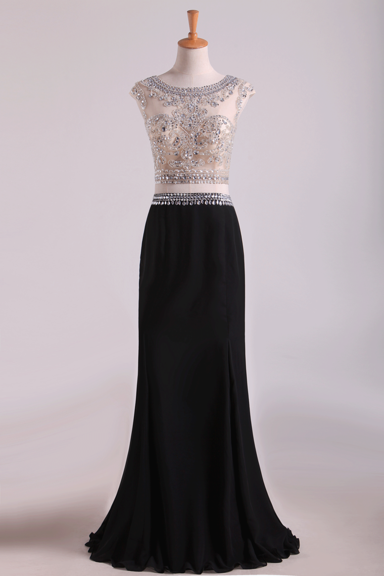 2019 Two-Piece Scoop Column Prom Dresses Beaded Bodice Chiffon