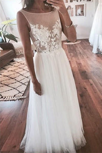 Elegant Ivory Long Lace Tulle Simple Cheap Beach Wedding Dresses