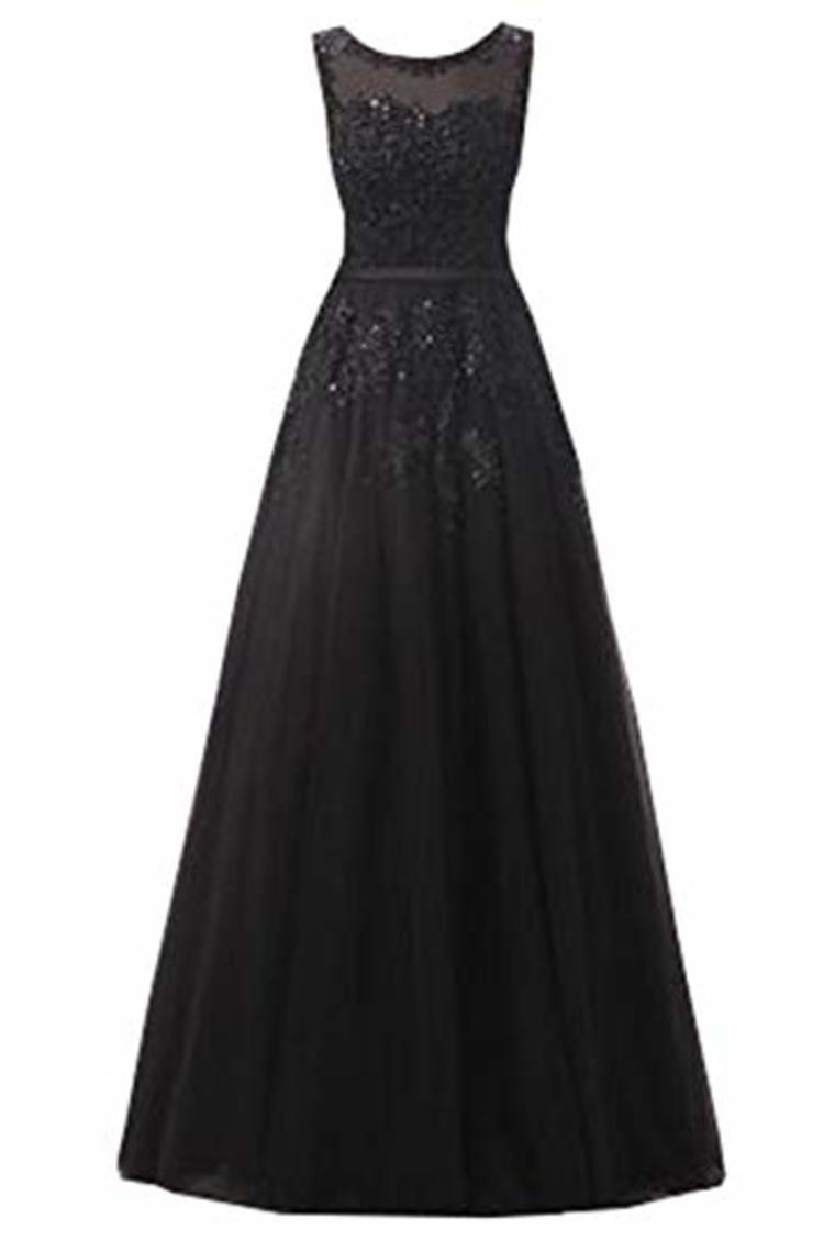 Beautiful A-Line Long Lace Tulle Zipper Evening Dress Ball Gown Bridesmaid Dress