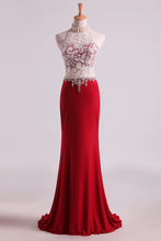Load image into Gallery viewer, 2019 Hot High Neck Prom Dresses Sheath Lace & Spandex Sweep Train