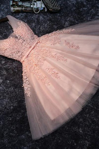 Lace Appliqued Tulle Blush Pink Short Prom Dress Sweet 16 Dress RS879