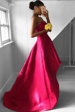 Load image into Gallery viewer, 2019 A Line Strapless Prom Dresses Satin Asymmetrical Zipper Up