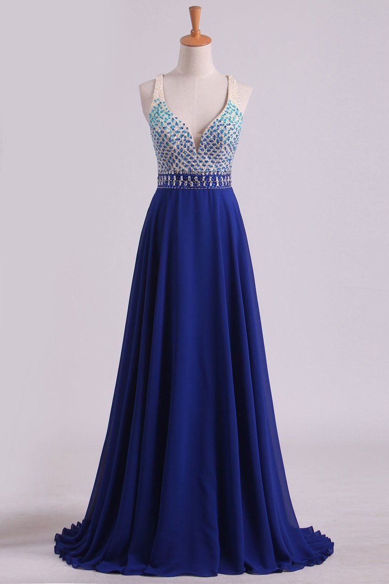 2019 Prom Dresses V Neck Beaded Bodice A Line Open Back Dark Royal Blue Chiffon & Tulle