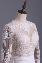Load image into Gallery viewer, Wedding Dresses Scoop Long Sleeves With Sash Sweep Train Backless