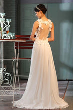 Load image into Gallery viewer, Sheer Back A-Line V-Neck Floor-Length Chiffon Appliques Sleeveless Wedding Dress RS66