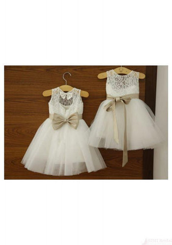 Ankle-length Sashes/Ribbons Scoop Neck White Lace Tulle Flower Girl Dresses RS545