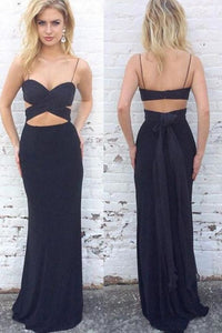Simple Spaghetti Straps Long Sheath Black Prom Dresses Sexy Party Dresses