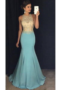 2019 Scoop Beaded Bodice Mermaid Prom Dresses Satin Sweep Train
