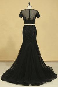 2019 Black Two Pieces Scoop Short Sleeves Mermaid Prom Dresses With Beading Tulle