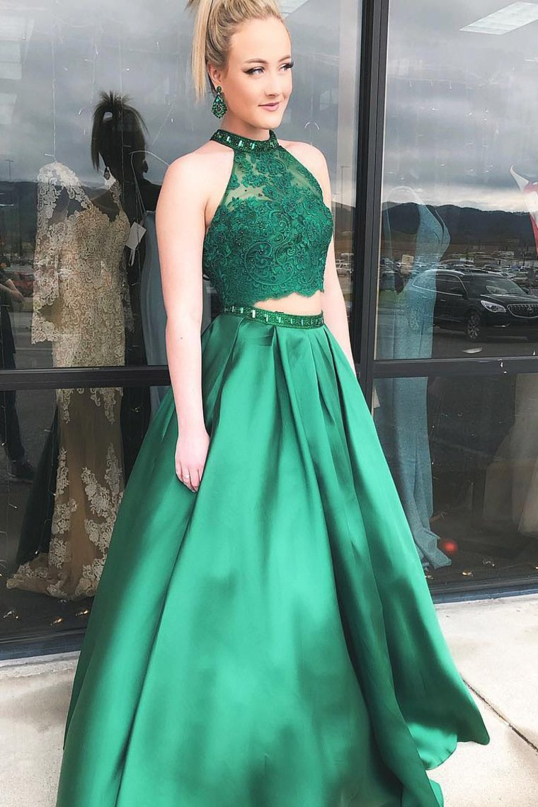 2019 Two Pieces Prom Dresses Lace Bodice Sexy Dress Satin With Beads And Sequins