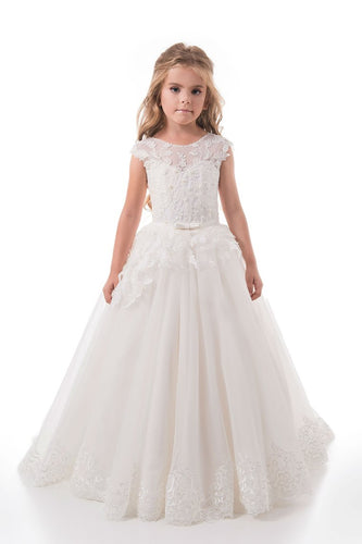 2019 Scoop A Line Tulle With Applique And Sash Sweep Train Flower Girl Dresses