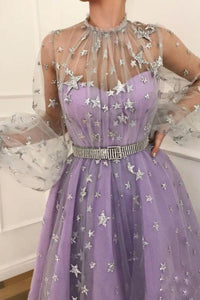 Prom Dress Long Sleeve Satin Lace A-Line Floor Length With Belt