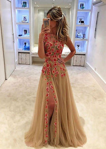 Unique Champagne Tulle Applique Long with Slit Sleeveless Floor Length Prom Dresses RS773