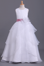 Load image into Gallery viewer, 2019 White Flower Girl Dresses Ball Gown Scoop Floor Length Organza