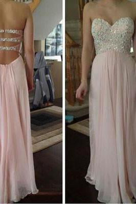 Pink prom Dress charming Prom Dresses Long prom Dress backless prom dress Party dress BD0374