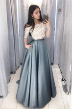 Load image into Gallery viewer, 2 Pieces Long Lace Satin A-Line Elegant Prom Dresses For Teens