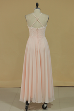 Load image into Gallery viewer, 2019 Spaghetti Straps Bridesmaid Dresses Sweep Train Chiffon A Line