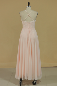 2019 Spaghetti Straps Bridesmaid Dresses Sweep Train Chiffon A Line