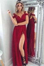Load image into Gallery viewer, Off The Shoulder Long Front Split Chiffon Simple Cheap Prom Dresses