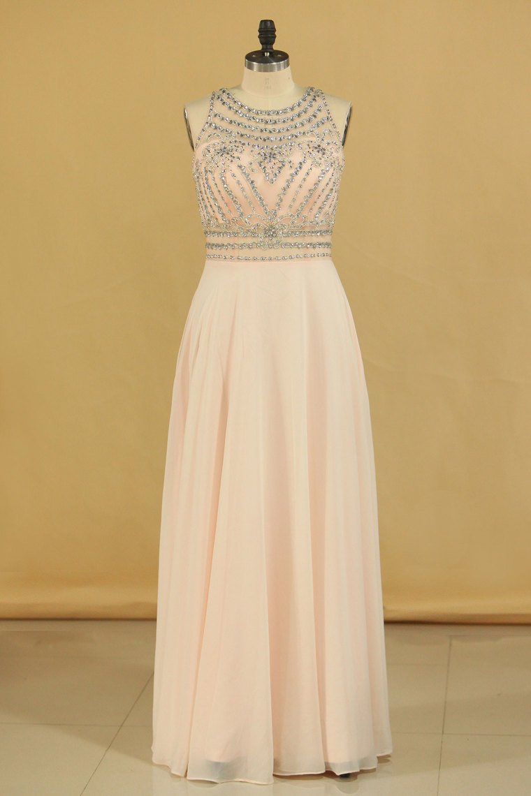 2019 Prom Dresses Scoop Beaded Bodice A Line Chiffon Floor Length