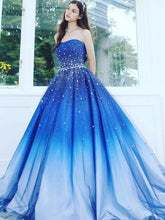 Load image into Gallery viewer, A Line Blue Strapless Sweetheart Ombre Sweep Train Ball Gown Beads Tulle Prom Dresses RS891