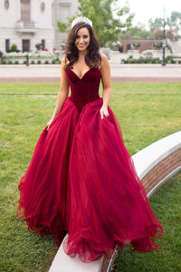 Strapless A-line Long V-Neck Tulle Burgundy Sleeveless Floor-Length Prom Dresses RS269