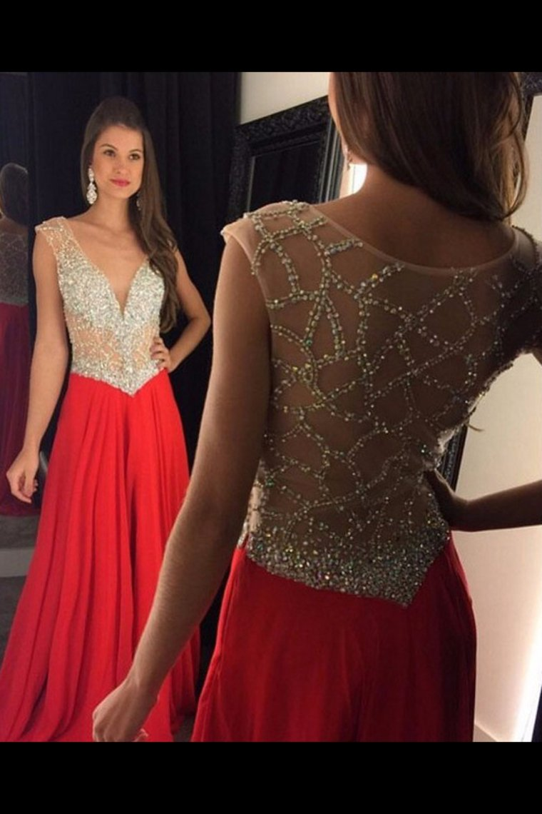 2019 Deep V Neck Prom Dresses A Line Chiffon With Beads
