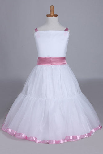 2019 Flower Girl Dresses A-Line Straps Tea Length Organza
