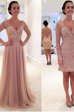 Load image into Gallery viewer, Long Sleeves V-neck Tulle Prom Dress with Detachable Train dusty pink sexy prom dress PD210187