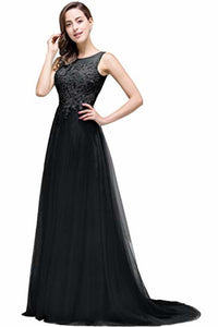 Lace Tulle Sleeveless Evening Dress Ball Gown Wedding Bridesmaid Backless Long Dress