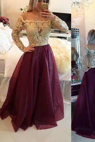 Burgundy Princess Lace Bodice Long Sleeves A-Line Organza Dark Red Evening Dresses RS14