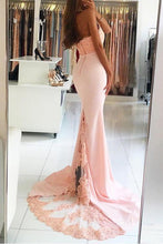 Load image into Gallery viewer, Pink Long Sexy Backless Mermaid Satin Sleeveless Lace High Neck Beads Prom Dresses RS393