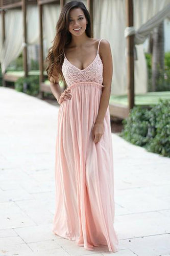 A-Line Spaghetti Straps Floor-Length Backless Sleeveless Pink Chiffon Lace Prom Dresses RS276