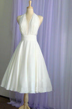 Load image into Gallery viewer, Halter Tea Length A Line Backless Chiffon with Pleated Bodice Wedding Dresses RS278