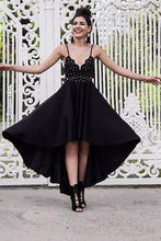 Load image into Gallery viewer, A Line Black V neck Short High Low Spaghetti Straps Prom Dresses Homecoming Dress RS692