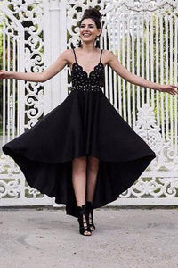 A Line Black V neck Short High Low Spaghetti Straps Prom Dresses Homecoming Dress RS692